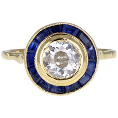1930s 18 Carat Gold Sapphire Diamond 'Target' Cluster Ring