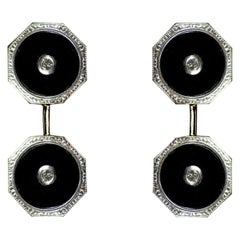 1930s 18 Kt White Gold Antique Cufflinks with Onyx and Diamonds