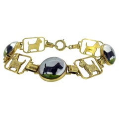 1930's/1940's Art Deco Scotty Dog Bracelet with Domed Crystal Links, Yellow Gold