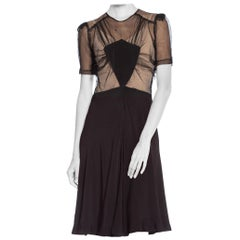 1940S Black Silk Bias & Net Dress