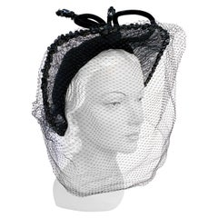1930s/1940s Black Silk Velvet Hat with Lace Brim and Full Face Veil