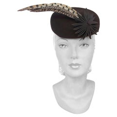 1930s/1940s Brown Fur Felt Sculpted Hat With Feather and Ribbon Accents