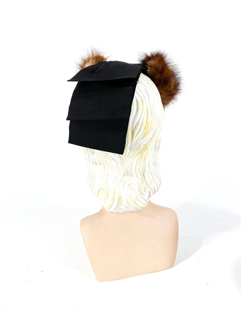 1930s/1940s Brown Mink and Ribbon Perch Hat In Good Condition For Sale In San Francisco, CA