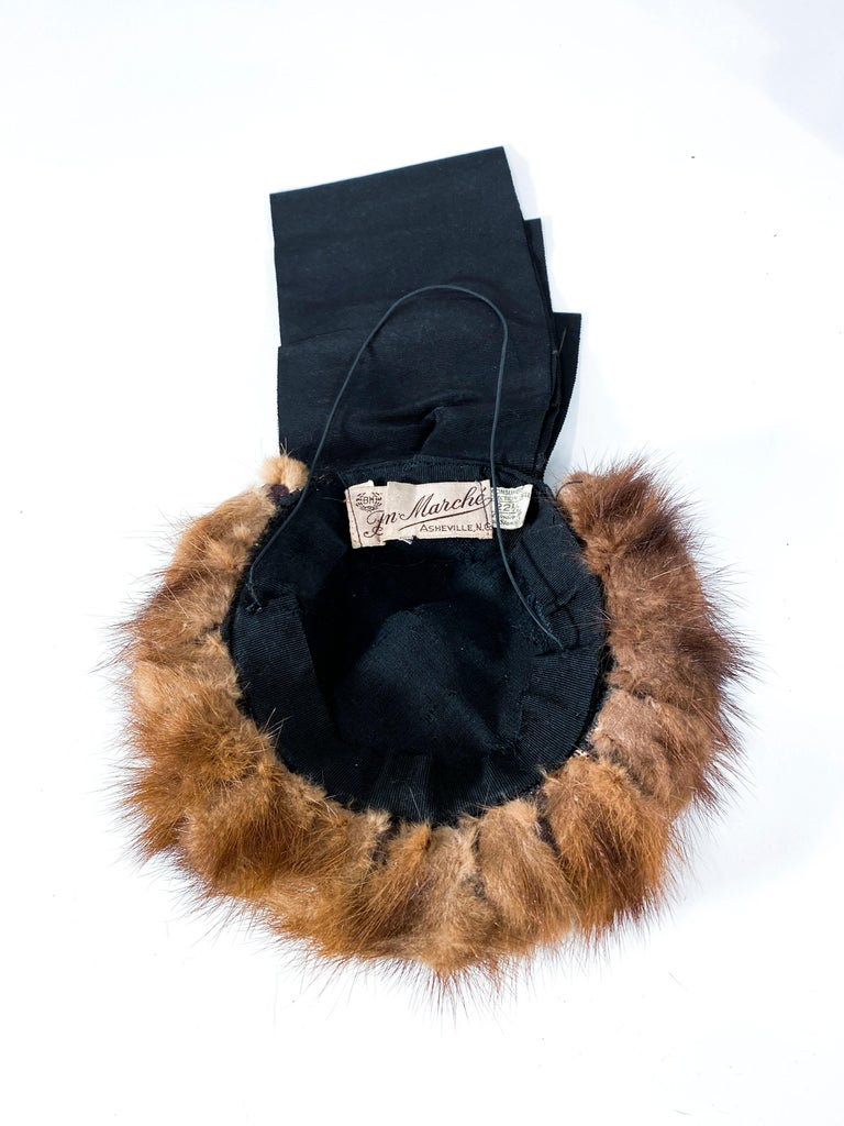1930s/1940s Brown Mink and Ribbon Perch Hat For Sale 1
