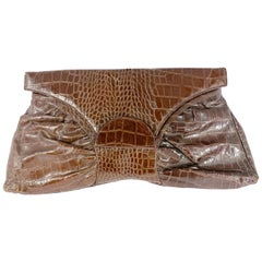 1930s/1940s Brown Oversized Faux Alligator Envelope Bag
