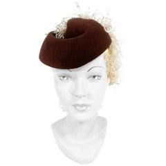 1930s/1940s Brown Sculpted Cocktail Hat with Feather Plume