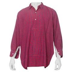 1900S Red & Blue Organic Cotton Men's Plaid Tunic Workwear Shirt From Paris