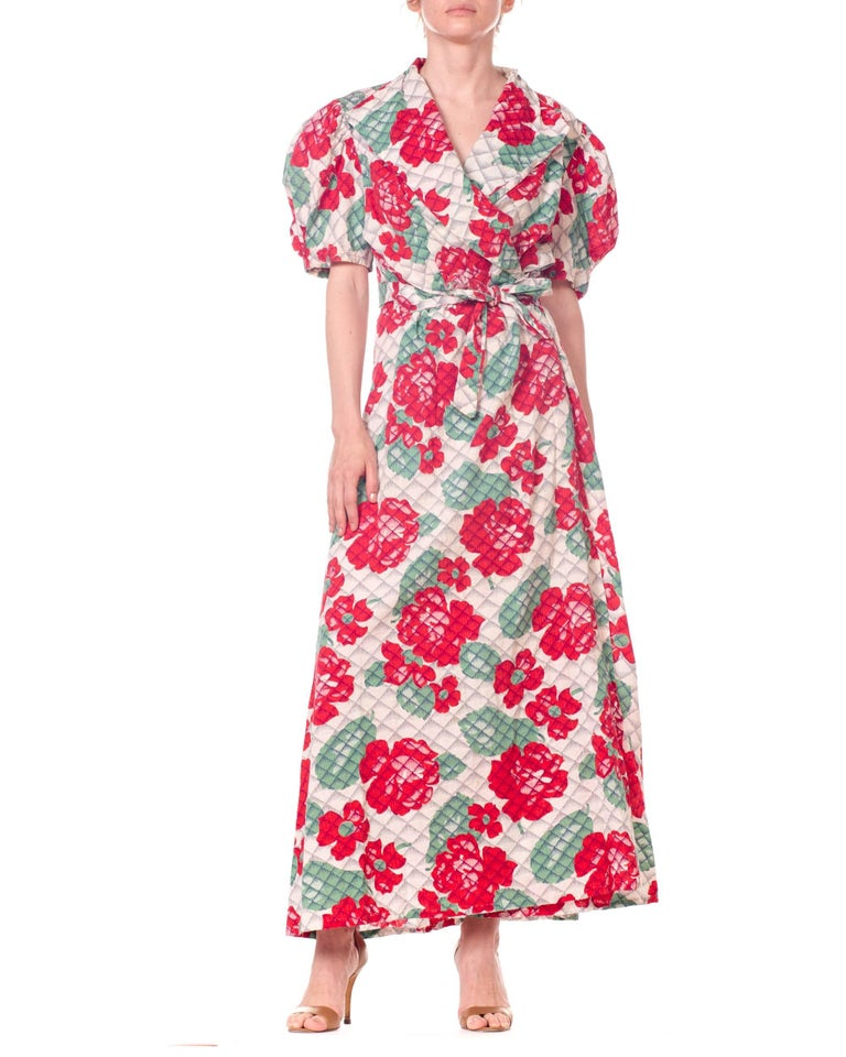 Brown 1930s 1940s Cotton Floral Quilted Wrap Dress For Sale