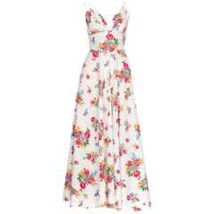 1930s 1940s Floral Cotton Piqué Dress