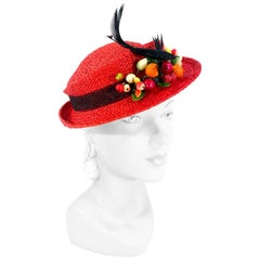 1930s/1940s Red Straw Perch Hat withFruit and Bird Accent