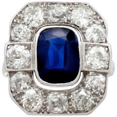 1930s 2.62 carat Sapphire and 2.85 carat Diamond White Gold Cluster Ring