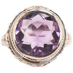 1930s 3 Carat Round Amethyst and 14 Karat White Gold Filigree Ring
