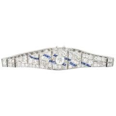 1930er Jahre 3,60 Karat Diamant Saphir Platin Art Deco Bauch-Armband