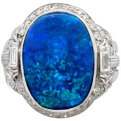 1930s 3.83 Carat Black Opal and 1.15 Carat Diamond, Platinum Cocktail Ring