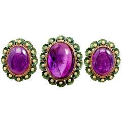 1930s 39.82 Carat Amethyst Green Enamel Gold Jewelry Set