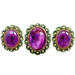 1930s 39.82 Carat Amethyst Green Enamel Gold Jewelry Set