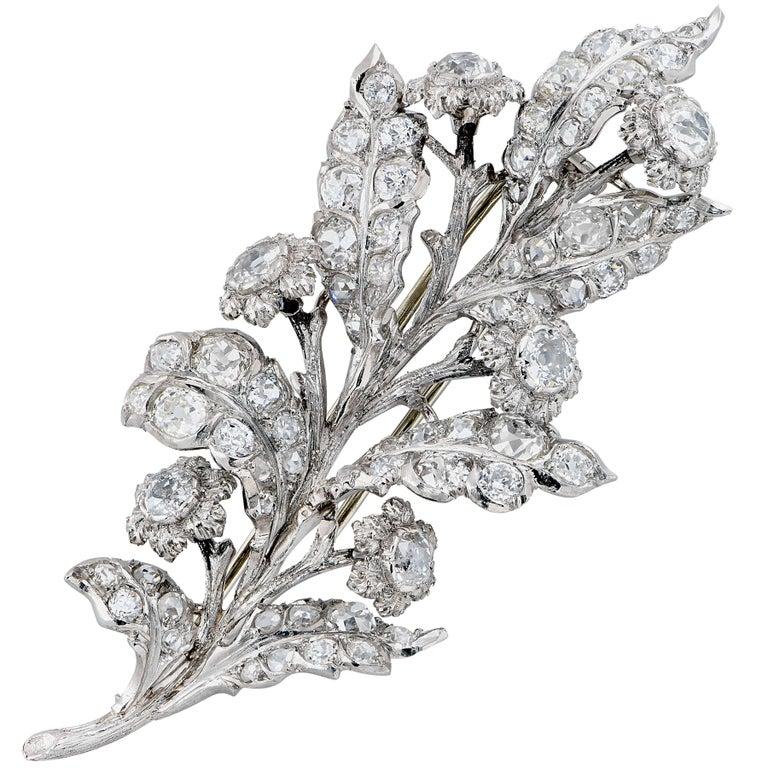 1930s 8 Carat Buccellati Diamond Platinum Brooch