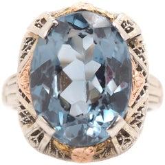 1930s 5 Carat Blue Topaz and 14 Karat Tri-Color Gold Filigree Ring