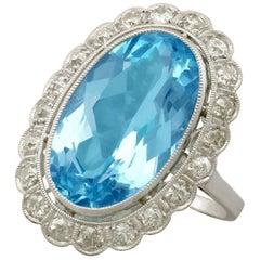 1930s 7.28 Carat Aquamarine and 1.30 Carat Diamond Platinum Cocktail Ring