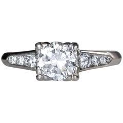 1930s .95 Carat Total Diamond Platinum Engagement Ring