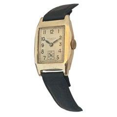 1930s 9K Gold Rectangular Vintage J. W. Benson London Watch