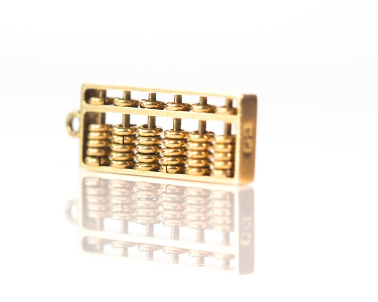 1930s Abacus Charm, 14 Karat Yellow Gold In Good Condition For Sale In New York, NY