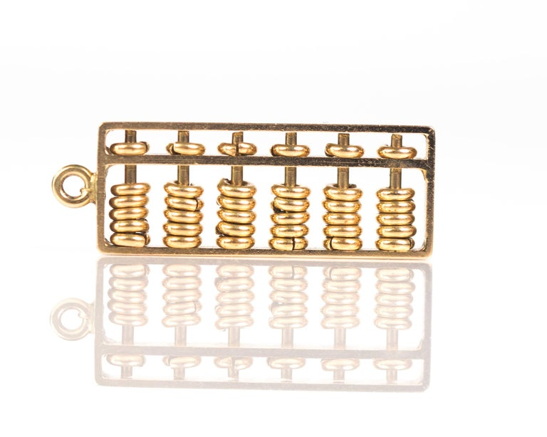 Women's or Men's 1930s Abacus Charm, 14 Karat Yellow Gold For Sale