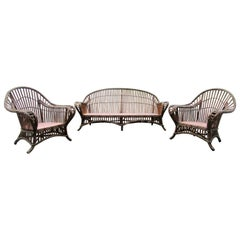 1930's American Art Deco Three Piece Wicker Set