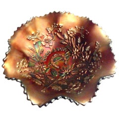 "1930s American Blown Art Glass ""Good Luck"" Ruffle Bowl by Northwood"