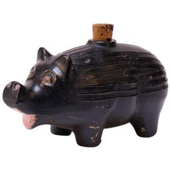 "1930s American Ceramic Ebony ""Pig"" Whiskey Nip / Flask"