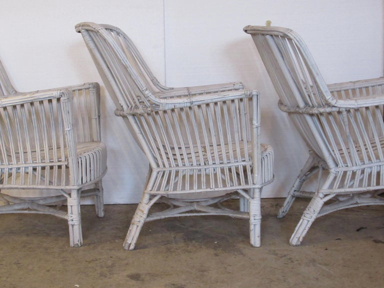 1930s American Stick Wicker Armchairs For Sale 2