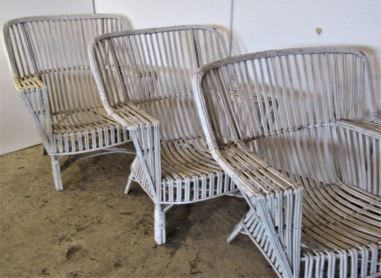 1930s American Stick Wicker Armchairs For Sale 3