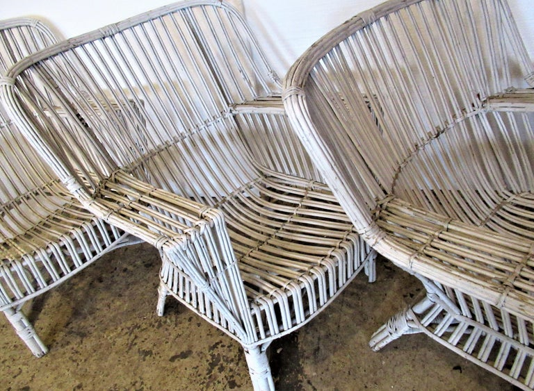 1930s American Stick Wicker Armchairs For Sale 4