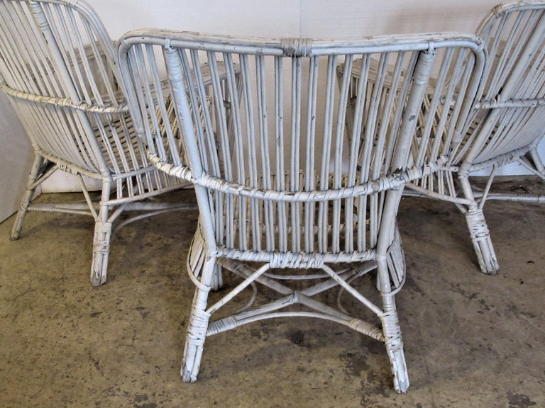 1930s American Stick Wicker Armchairs For Sale 5