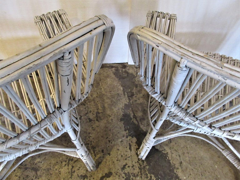 1930s American Stick Wicker Armchairs For Sale 6