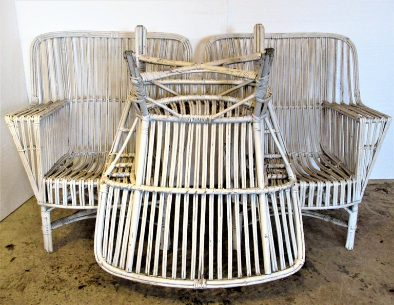 1930s American Stick Wicker Armchairs For Sale 7