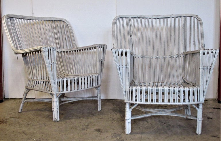 1930s American Stick Wicker Armchairs For Sale 8