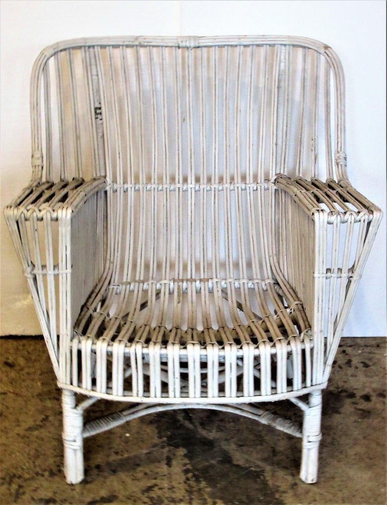 1930s American Stick Wicker Armchairs For Sale 10