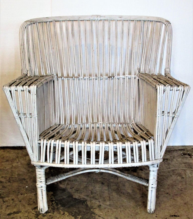 1930s American Stick Wicker Armchairs For Sale 11