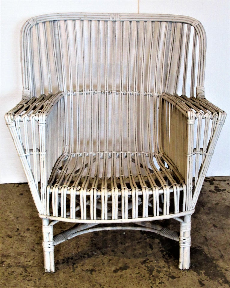 1930s American Stick Wicker Armchairs For Sale 12