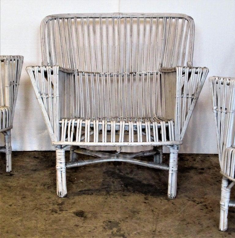 Art Deco 1930s American Stick Wicker Armchairs For Sale