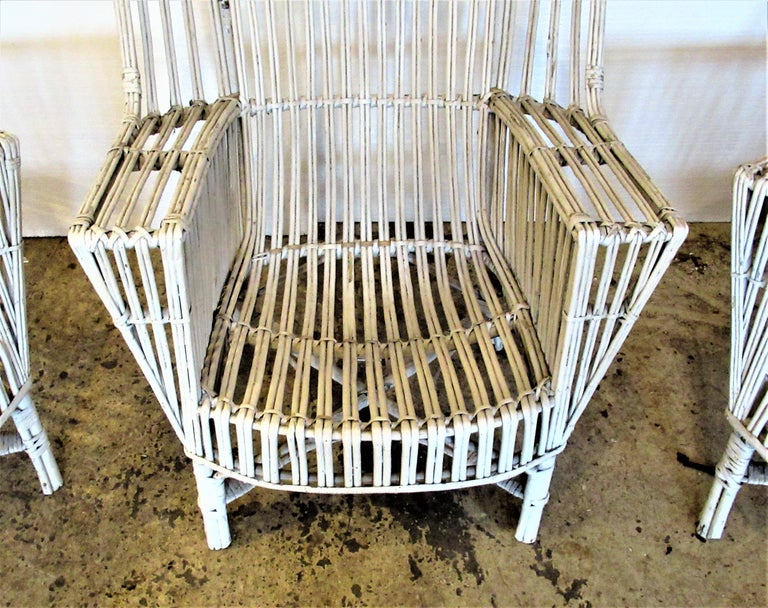 North American 1930s American Stick Wicker Armchairs For Sale