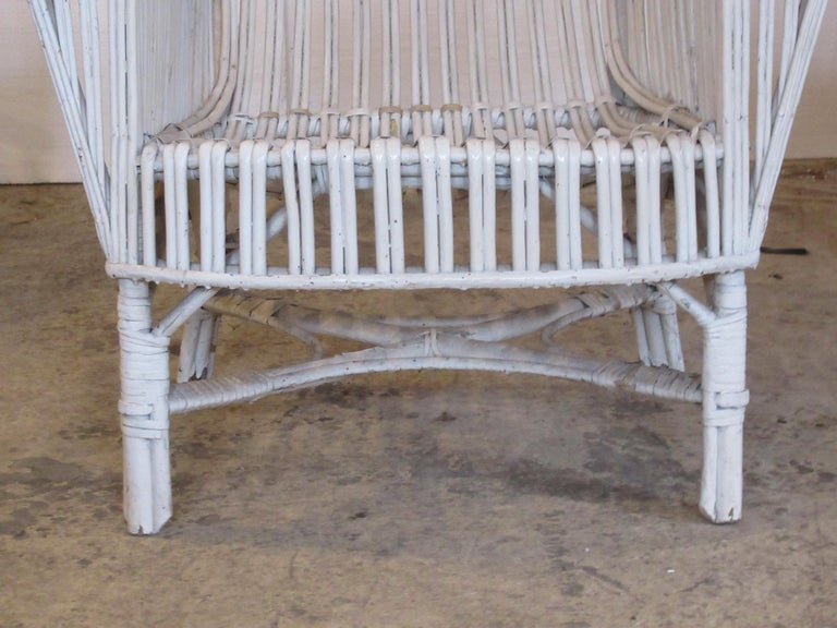 Mid-20th Century 1930s American Stick Wicker Armchairs For Sale