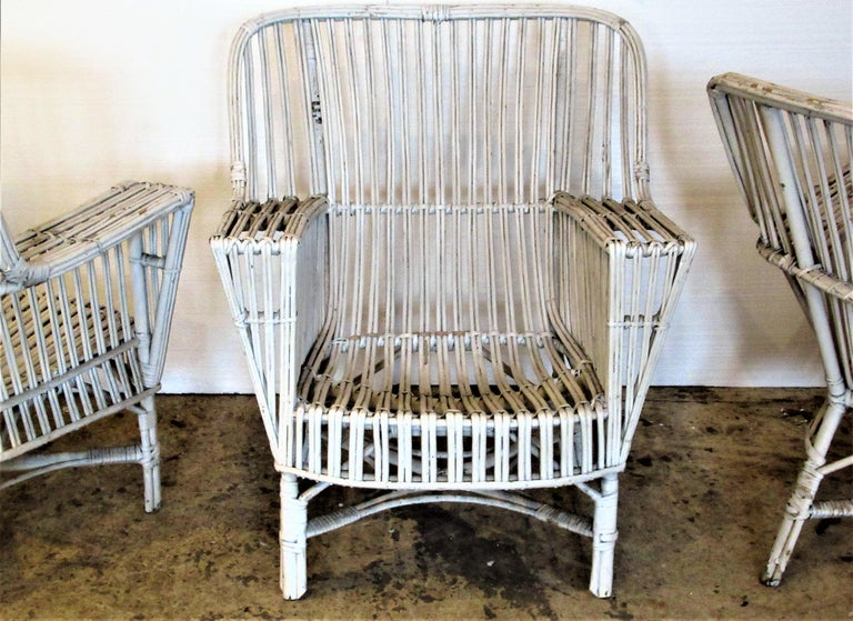 1930s American Stick Wicker Armchairs For Sale at 1stdibs