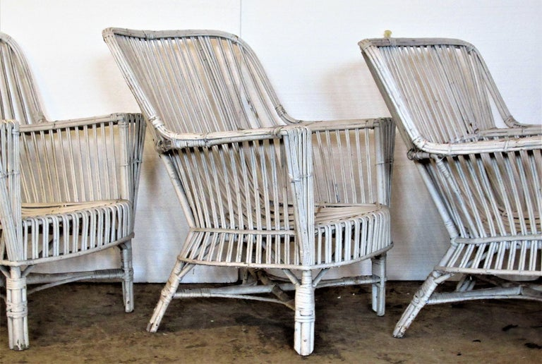 1930s American Stick Wicker Armchairs For Sale 1