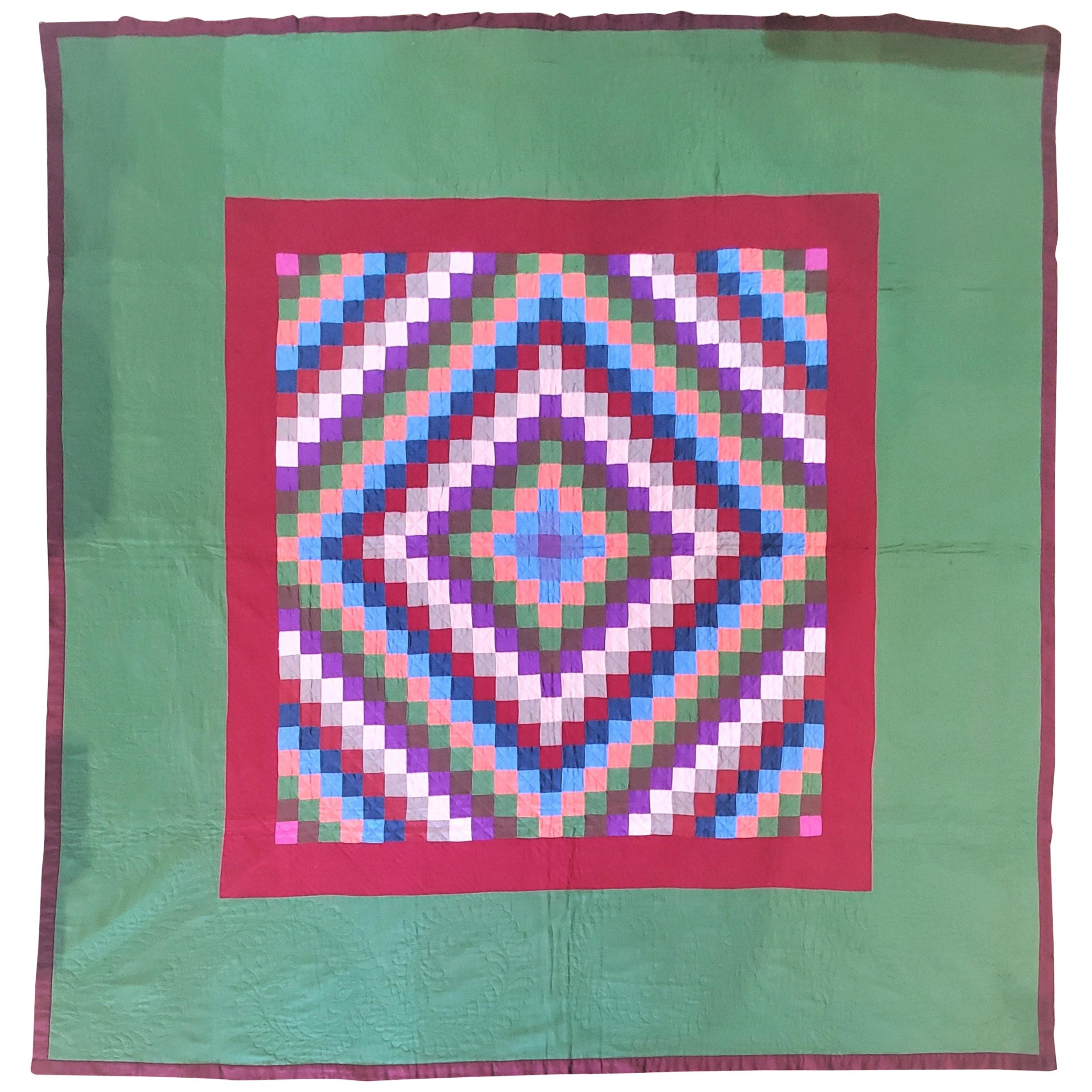 1930s Amish Wool Sunshine and Shadow Quilt Lancaster Co., Pa.