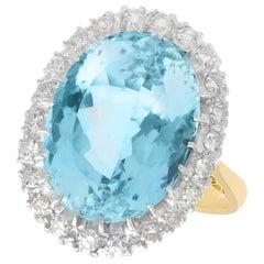 1930s Antique 10.79 Carat Aquamarine and Diamond Yellow Gold Dress Ring