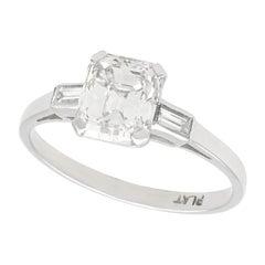 1930s Antique 1.11 Carat Diamond and Platinum Solitaire Ring