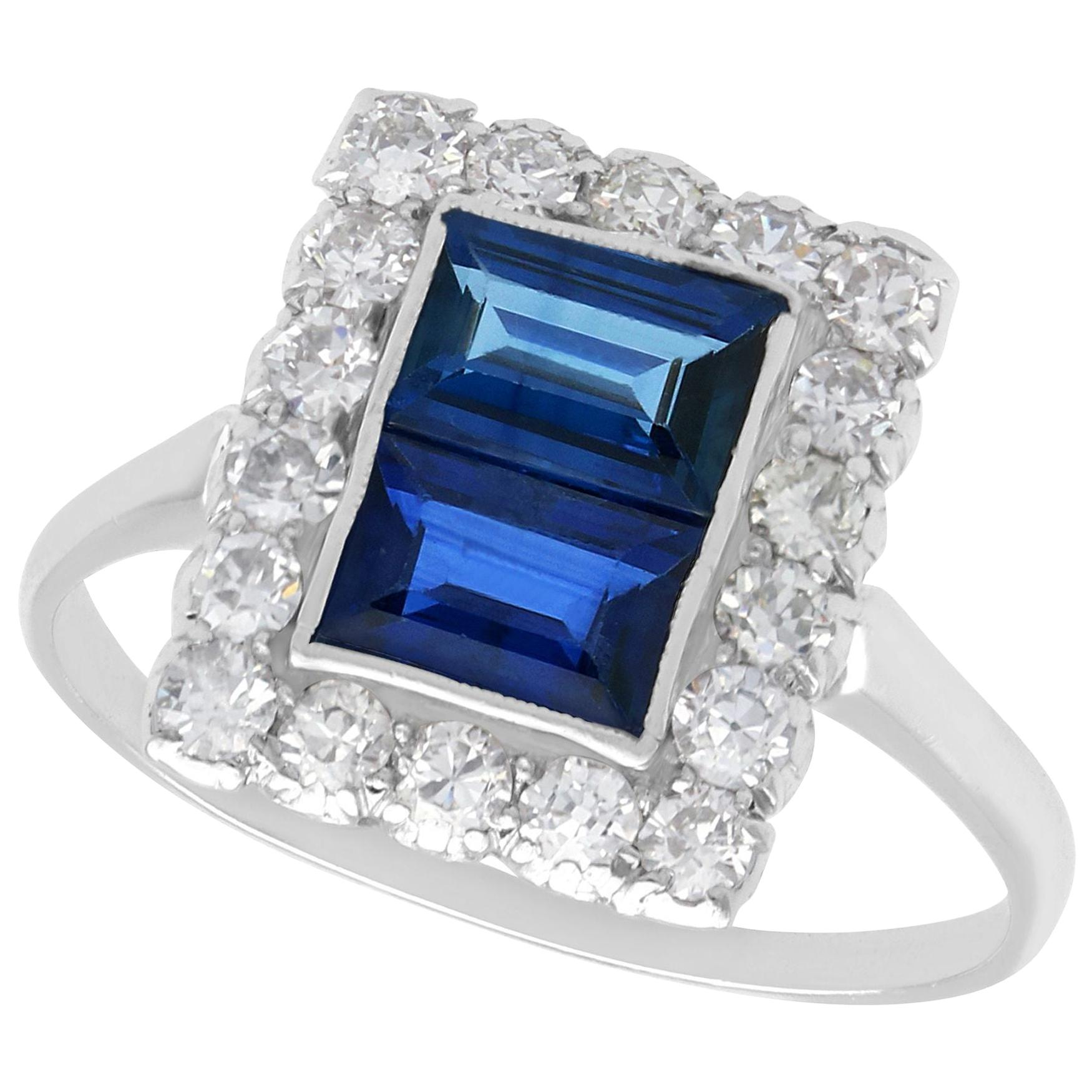 1930s Antique 1.60 Carat Sapphire and Diamond Platinum Cluster Ring