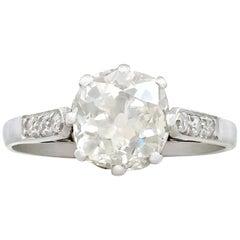 1930s Antique 1.62 Carat Diamond and Platinum Solitaire Ring